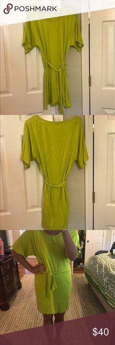 Trina Turk Lime Tie Waist Dress Trina Turk, light weight citrus color dress with tie waste. Looser kimono style sleeves. Size 2. Trina Turk Dresses Mini
