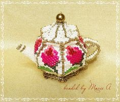Beaded teapot, awesome work from Marie A.