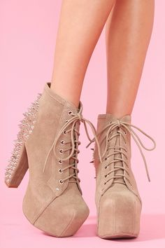 Spike Platform Boot - Taupe Suede