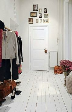 Hallway closet/coat rack for Christmas parties. Genius!