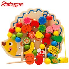 Simingyou brand Learning Education Wooden Toys Hedgehog Fruit Beads For Children on AliExpress