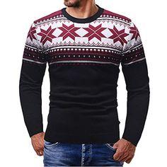 AIMEE7 Pull Noel Homme Imprimé Col Rond Pulls De Noël Homme Manches Longues  Sweat Shirt Oversize Fashion Sweatshirt Tops Tricoté Noël Hiver Chaud  Grande ... 0055f6ac5b96