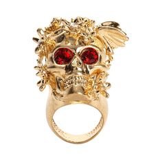 Alexander McQueen - antique gold butterfly skull cocktail ring - $345.00