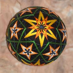 Night Flowers temari ball by mfrid on Etsy, $25.00