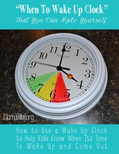 "KIDS CLOCK- THIS IS BRILLIANT. Wish I had thought of this when my girls were little! Now you don't need to go and purchase a fancy shmancy toddler clock! ⏰  ""If your kids like to get out of bed really early you can place a clock in their room and color code it for them. Tell them that if the time is in the red they have to stay in bed. If it's in the yellow they can get out of bed but must play quietly until it's green. When it's green they can start their day."