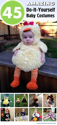 45 Amazing DIY Baby Halloween Costumes -- Look at this cute chubby baby chicken haha