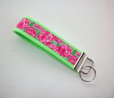 roses Key fob wristlet - roses key fob - rose keychain - flowers roses wristlet