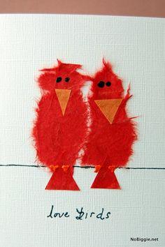 make a sweet love birds card for Valentine's Day | NoBiggie.net