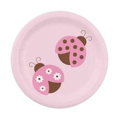 Cute Pink Ladybug Paper Plates 7 Inch Paper Plate