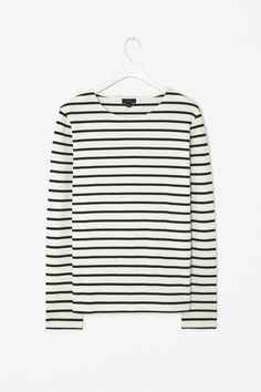 STRIPED SWEATSHIRT  A basic style designed for everyday wear, this casual sweatshirt has an all-over striped pattern. Made from soft cotton jersey, it is a relaxed fit with a wide round neckline, long sleeves and simple stitched edges.