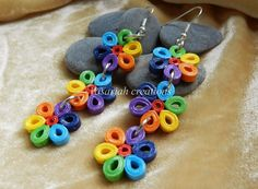 Quilling - rainbow flowers earrings | Quilling Jewelery ...