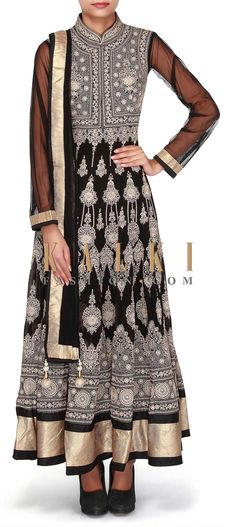 Buy Online from the link below. We ship worldwide (Free Shipping over US$100). SKU -  301125. Product Link - http://www.kalkifashion.com/black-anarkali-suit-adorn-in-resham-only-on-kalki.html
