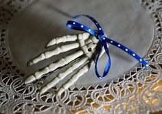 Single Skeleton Hand Creepy Hair Barrette Clip with by funkyou