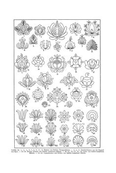 Folk Embroidery Patterns Free Clip Art and Digital Collage Sheet - Magyar Ornament Hungarian Embroidery, Folk Embroidery, Learn Embroidery, Japanese Embroidery, Beaded Embroidery, Embroidery Stitches, Hungarian Tattoo, Flower Embroidery, Mexican Embroidery
