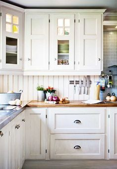 Norwegian country kitchen-perfect for an older home update. Love the look but do I really want to paint all those cabinets?