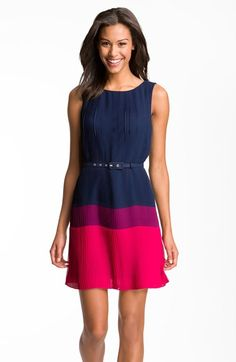 Free shipping and returns on Eliza J Pleated Colorblock Chiffon Dress at Nordstrom.com. Rich color blocks saturate the pleated chiffon of a sleeveless frock with a waist-cinching skinny belt for effortlessly streamlined appeal.