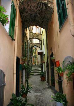 Cobblestone alley in Badalucco, Italy