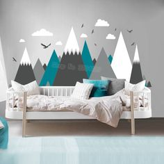 Gray Cream Mountains Wall Sticker Home Decor For Kids Room Nursery Eagles Pine Trees Clouds Beautiful Art Murals Decal JW373-in Wall Stickers from Home & Garden on Aliexpress.com | Alibaba Group