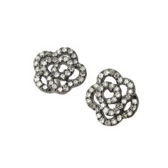 Floral Oxidized Diamond Stud Earrings