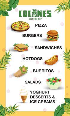 Lunch Time! 🥪🌭🍔🍕🍟🌮🥗🍦  #CoconesBar #Cocones #BlueFlagBeach #CocktailBar #Polichrono #Halkidiki #Cocktails #StreetFood #HalkidikiBars #burger #pizza #sandwich #burrito #hotdog #salads #yoghurt  #icecream #foodporn Pizza Sandwich, Pizza Burgers, Lunch Time, Burritos, Icecream, Street Food, Hot Dogs, Salads, Sandwiches
