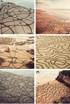 San Francisco-area based landscape artist, Andres Amador,creates amazing large-scale sand paintingson beaches using only a rake. He andhis pupils only have 2 hours to make their art before the tide returns and washes it all away~~~~~*