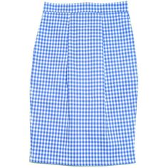 FAIR+true Fair Trade Gingham Pencil Skirt (4.445 RUB) ❤ liked on Polyvore featuring skirts, blue gingham skirt, pastel pencil skirt, blue skirt, pastel blue skirt and pastel skirt
