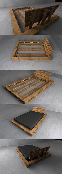 4 palettes de bois pour construire la structure d'un lit et c'est tout. Prévoir tout de même un espace supérieur au matelas.