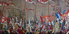 """Husaria na Kremlu, 1610 rok"" obraz olejny 120 x 60 cm Polish Hussars"