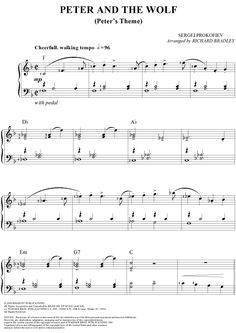Digital Sheet Music for Peter and the Wolf by Sergei Prokofiev, Richard Bradley scored for Easy Piano; Kindergarten Music, Teaching Music, Teaching Tips, Printable Sheet Music, Digital Sheet Music, Active Listening, Listening Activities, Peter Wolf, Sergei Prokofiev