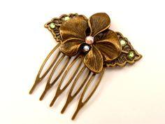 Kleiner Haarkamm in bronze mit Orchidee