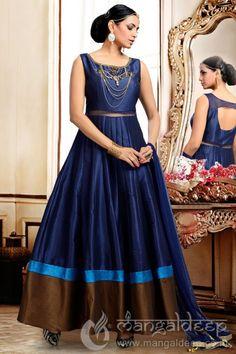 http://www.mangaldeep.co.in/salwar-kameez/ready-made-salwar-kameez/beguiling-navy-blue-chanderi-silk-readymade-designer-anarkali-suit-7062  For more details contact us : +919377222211 (whatsapp available)