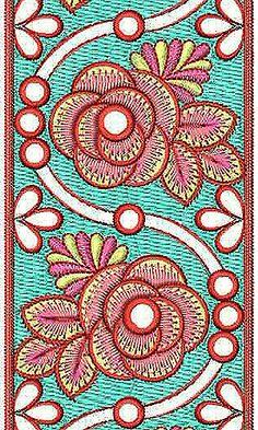 Rhinestone Embroidery Design   Lace Border Brocade