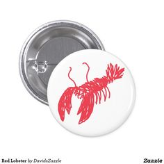 Red Lobster Round Button  Available on many more products! Use the search bar on my Zazzle products page, type in the name of the design to see all products.  #lobster #red #illustration #gear #life #lifestyle #cool #chic #zazzle #buy #sale #ocean #nature #planet #earth #creature #sea #crawl #claw #fish #swim #swimming #water #button #pin #back