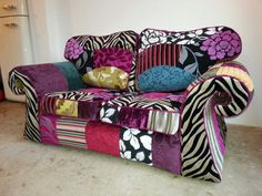 patchwork sofa made from upholstery fabric, up-cycled old sofa.