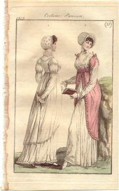 1803 half robe I like the short sleeves on the pink gown. Maybe a pattern for our seaside ensembles @ Stephanie Cote?