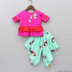 Pre Order: Hot Pink Bird Embroidered Frill Top With Printed Dhoti Cute Baby Dresses, Dresses Kids Girl, Nice Dresses, Kids Outfits, Kids Frocks Design, Baby Frocks Designs, Kids Dress Collection, Kids Lehenga Choli, Kids Ethnic Wear