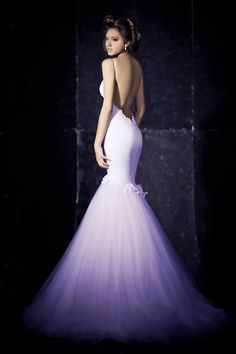 Backless Trumpet Wedding Gown.  Satin bodice & Tulle skirt. #Backless #Wedding #Dress #Sexy #Trumpet #Mermaid