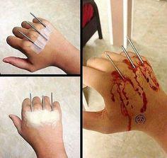 Use any sharps - needles, nail, fork, nail scissors 😱 Creepy Makeup, Horror Makeup, Zombie Makeup, Clown Makeup, Sfx Makeup, Cosplay Makeup, Maquillage Horrible, Wound Makeup, Fantasias Halloween