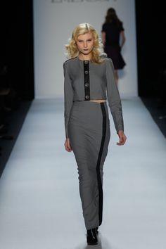 Grey Denim Cropped Jacket, Grey Denim Maxi Skirt with Slit