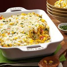 Basil Corn & Tomato Bake Recipe -I think this is the ultimate dish to make when sweet Jersey corn is in season. Combined with tomatoes, zucchini and basil, it makes for a spectacular side for brunch, lunch or dinner. —Erin Chilcoat, Central Islip, New York