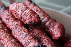 Vietnamese Pork Sausage, Nem Nuong, fresh off the grill.