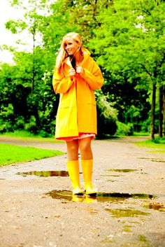 Classic yellow raincoat