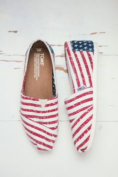 You'll be ready for the fourth of July with these American flag TOMS Shoes.