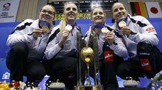 Curling : Nicole Schwägli, Marisa Winkelhausen, Nadine Lehmann and Alina Pätz (Switzerland) : the new world champions 2015 in Sapporo - Japan.