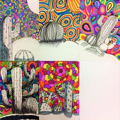 Inspired by the artist Matea Sincovec I like this lady's style! Its like a psychedelic cactus. I love the patterns and colors she p. Middle School Art Projects, 7th Grade Art, Ecole Art, Art Lessons Elementary, High Art, Elements Of Art, Art Lesson Plans, Art Classroom, Art Club