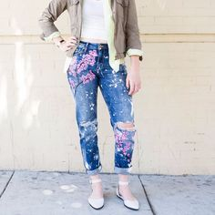 Jeans Makeovers - DIY Cherry Blossom Boyfriend Jeans - Easy Crafts and Tutorials to Refashion Your Jeans and Create Ripped, Distressed, Bleach, Lace Edge, Cut Off, Skinny, Shorts, and Painted Jeans Ideas http://diyprojectsforteens.com/diy-jeans-makeovers