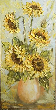 56 Trendy Ideas For Painting Palette Knife Spatula Acrylic Flowers, Oil Painting Flowers, Texture Painting, Painting & Drawing, Watercolor Paintings, Flower Paintings, Dark Paintings, Landscape Paintings, Sunflower Art