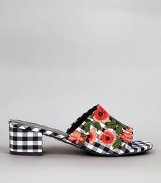 All over gingham print- Floral embroidered design- Open toe- Block heel-