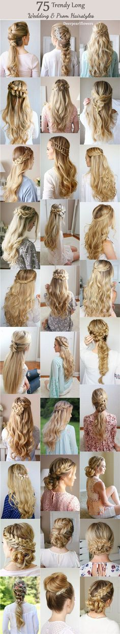 75 Trendy Long Wedding & Prom Hairstyles to Try in 2018 Lange Hochzeits- und Abschlussballfrisuren v Prom Hairstyles For Long Hair, Trendy Hairstyles, Braided Hairstyles, Wedding Hairstyles, Bridesmaid Hairstyles, Long Haircuts, Homecoming Hairstyles, Straight Haircuts, Layered Hairstyles