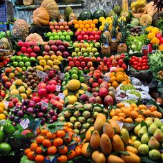 Fresh and colorful fruits - Visiting the famous food market in Barcelona Spain - love all the fresh fruits - great place at LaRambla